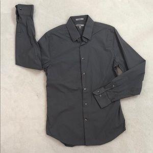 EXPRESS 1MX GREY STRETCH DRESS SHIRT M 15-15 1/2